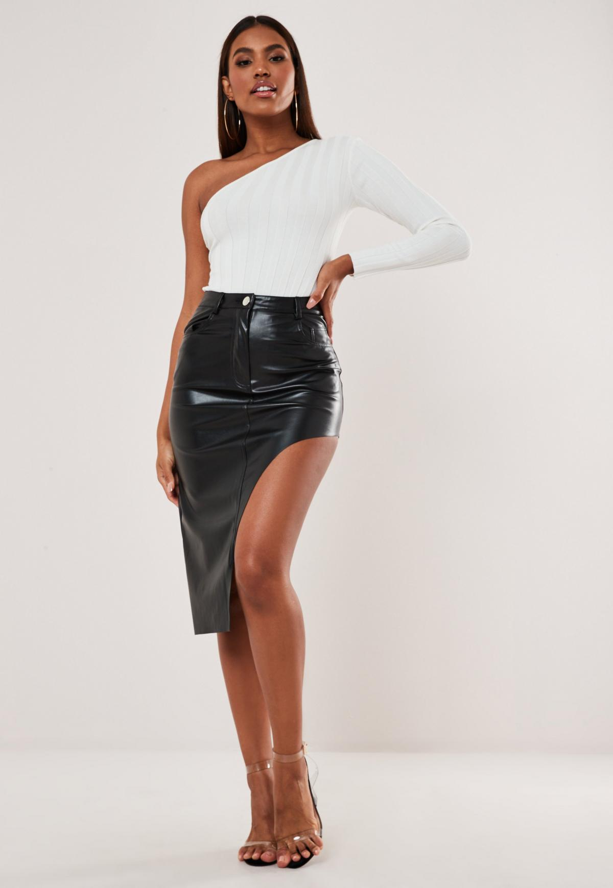 Image result for missguided black faux leather asymmetric midi skirt