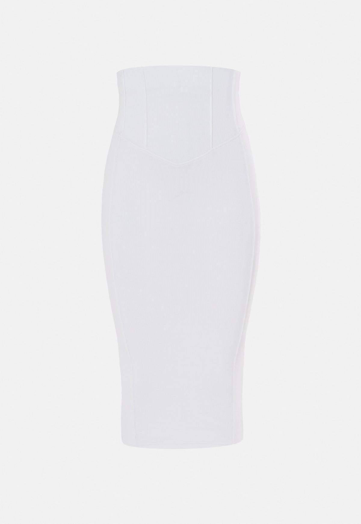 Jupe mi longue blanche côtelée style corset