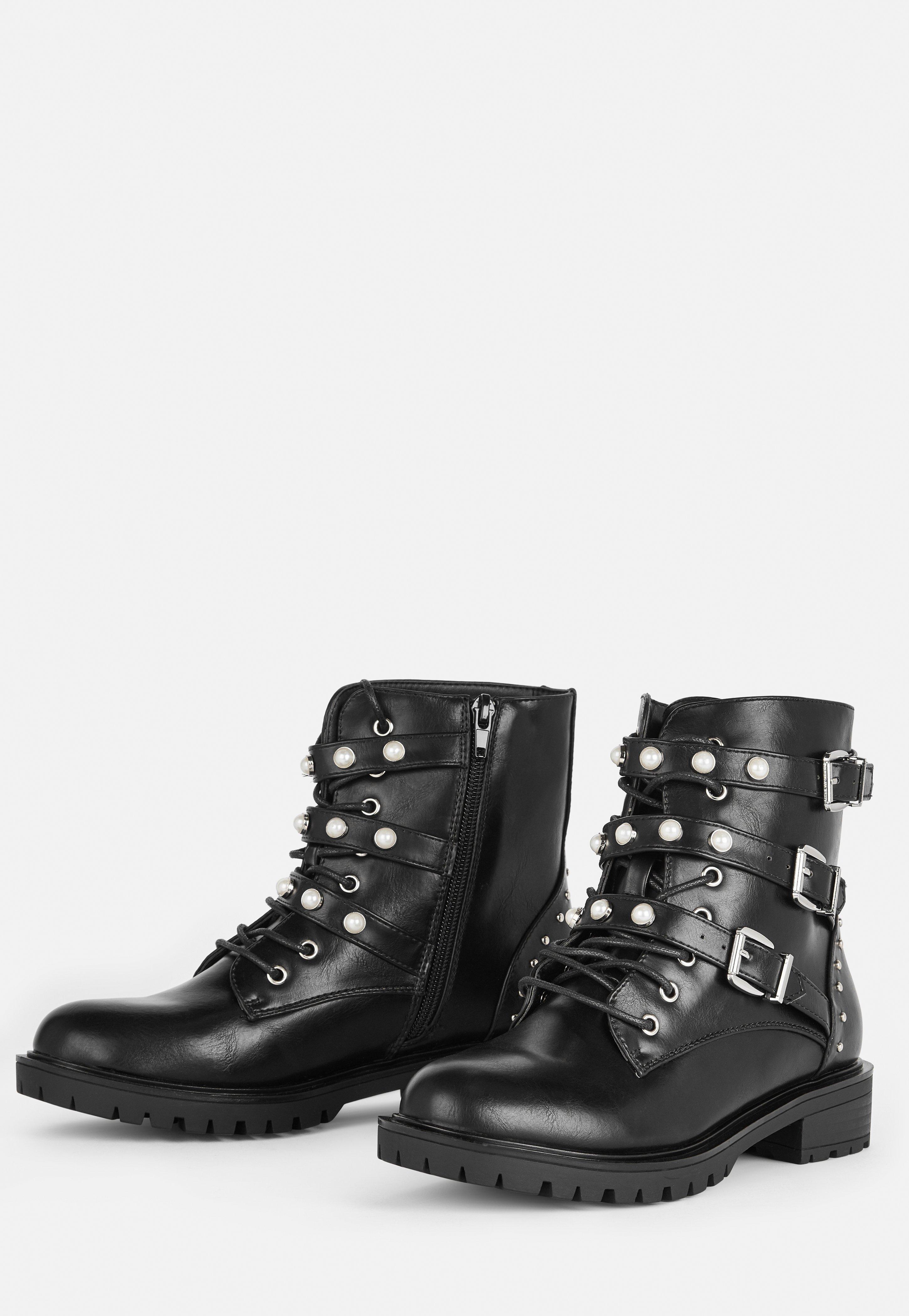 Womens Stud Faux Pearl Lace Biker Boots Black Ladies Size 7 New