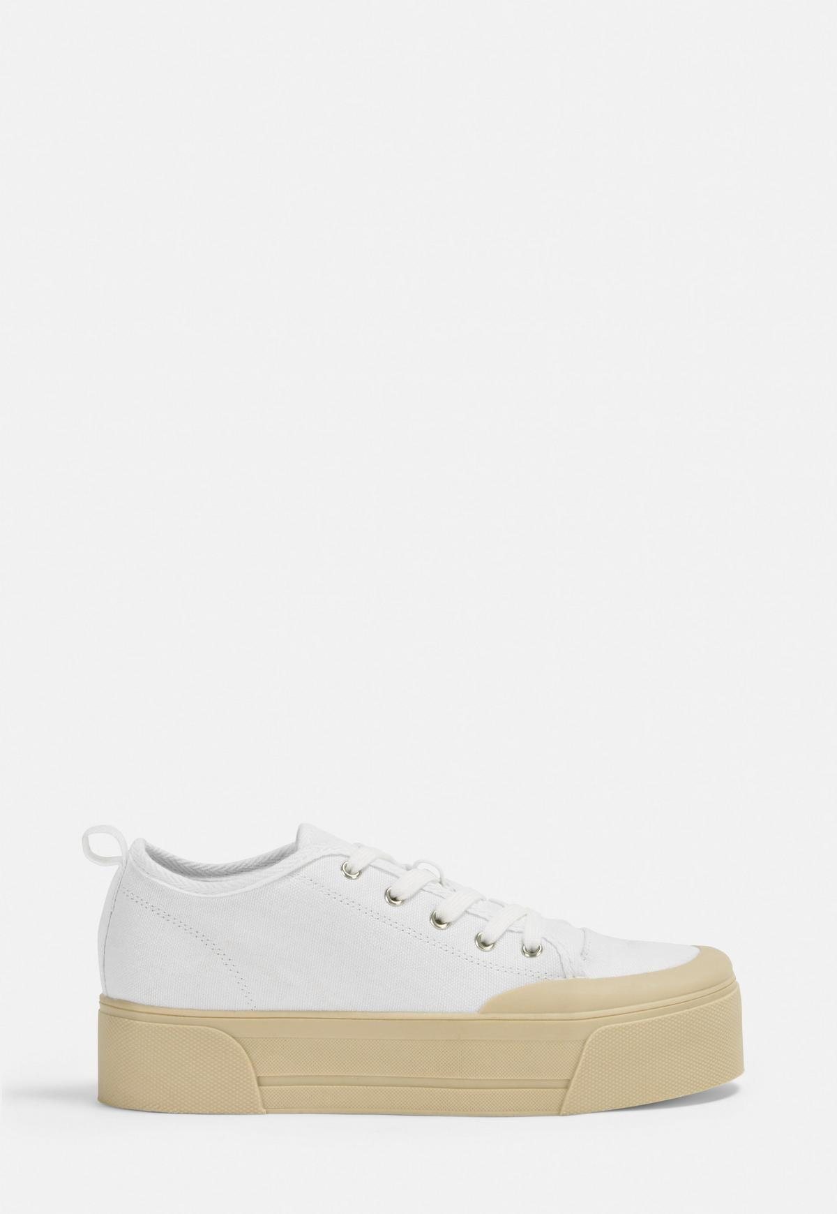 white canvas chunky sole trainers