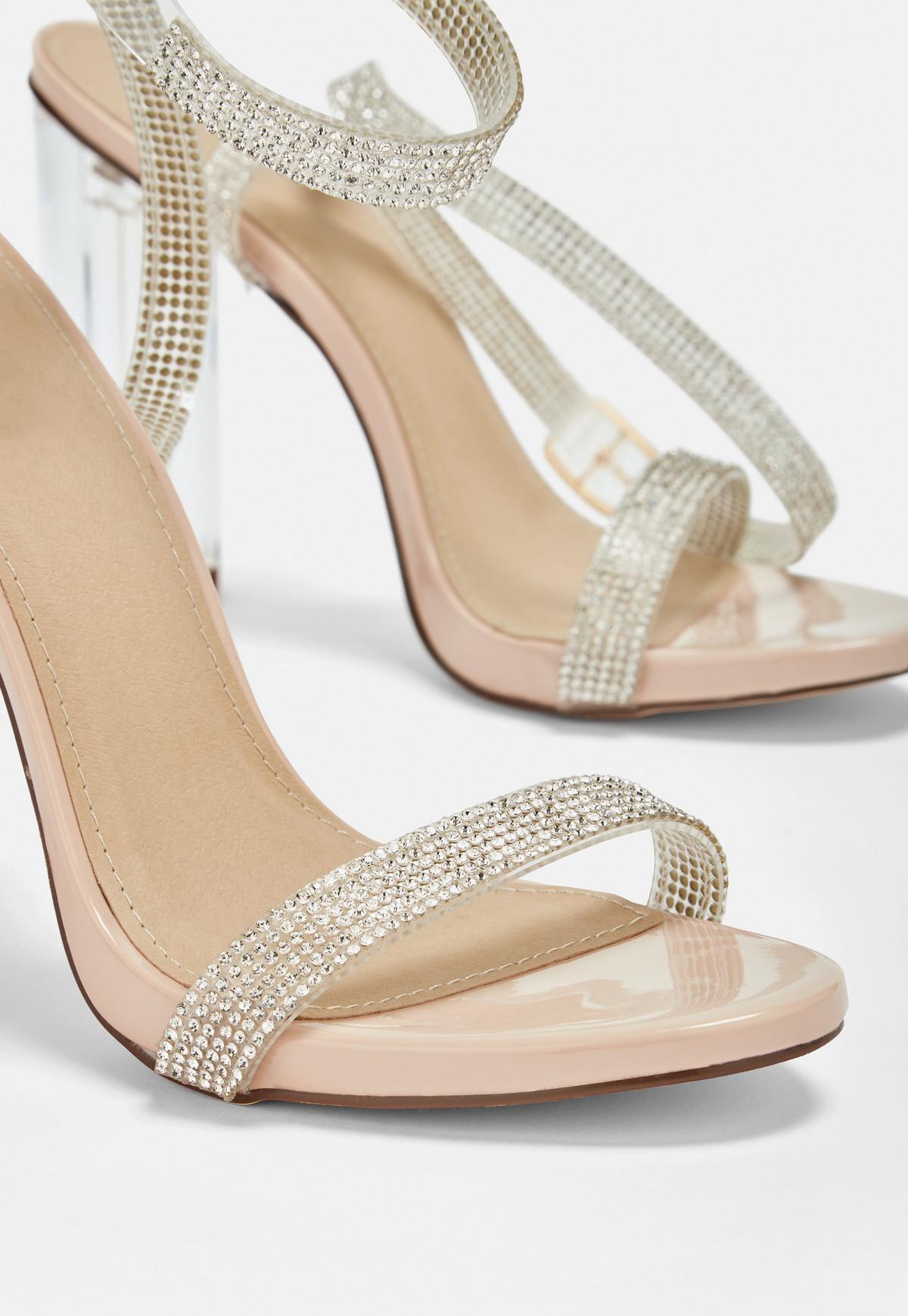 Karolina Silver Clear Diamante Bow Slingback Court Shoes