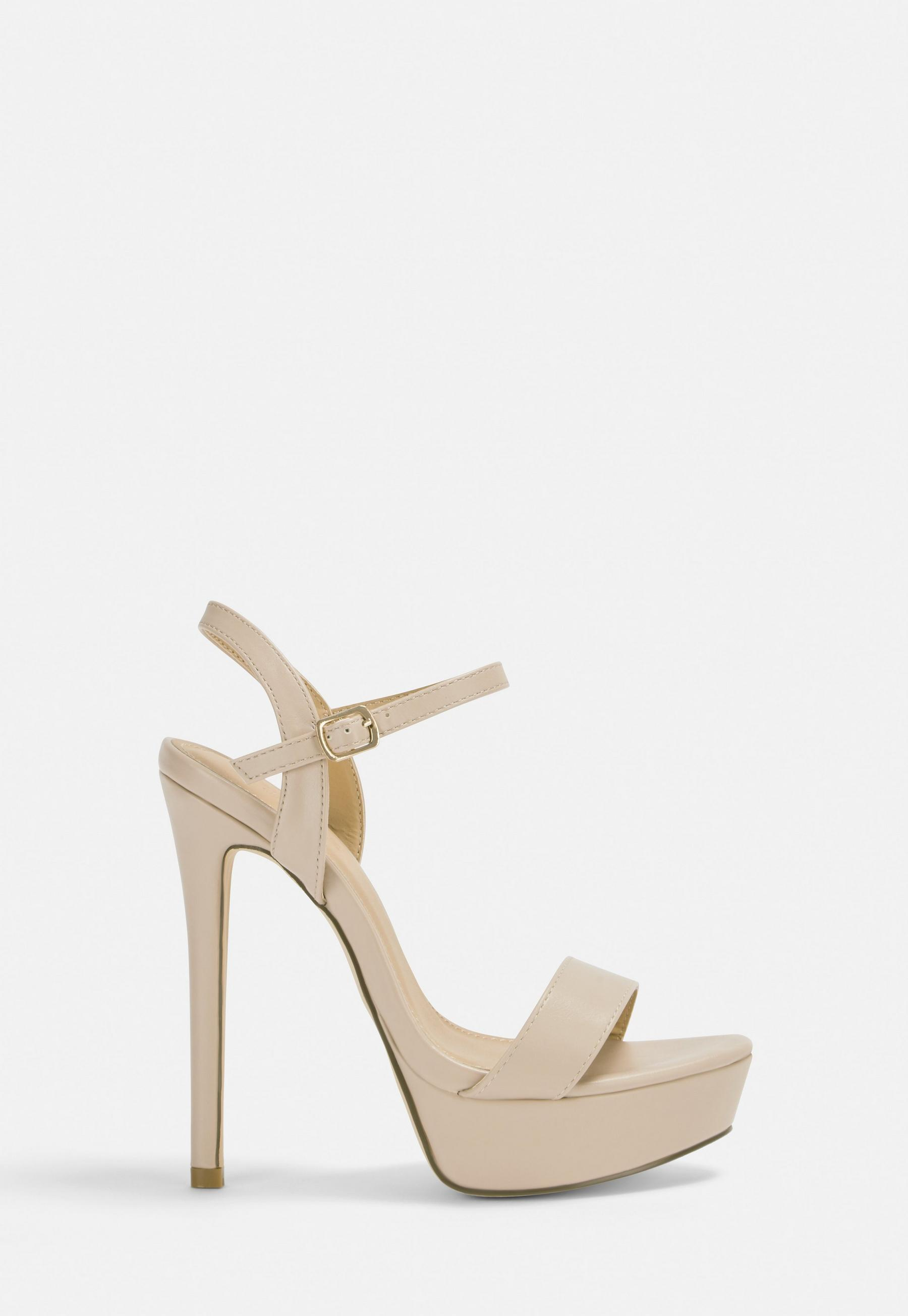 Nude Thick Platform Super High Heel