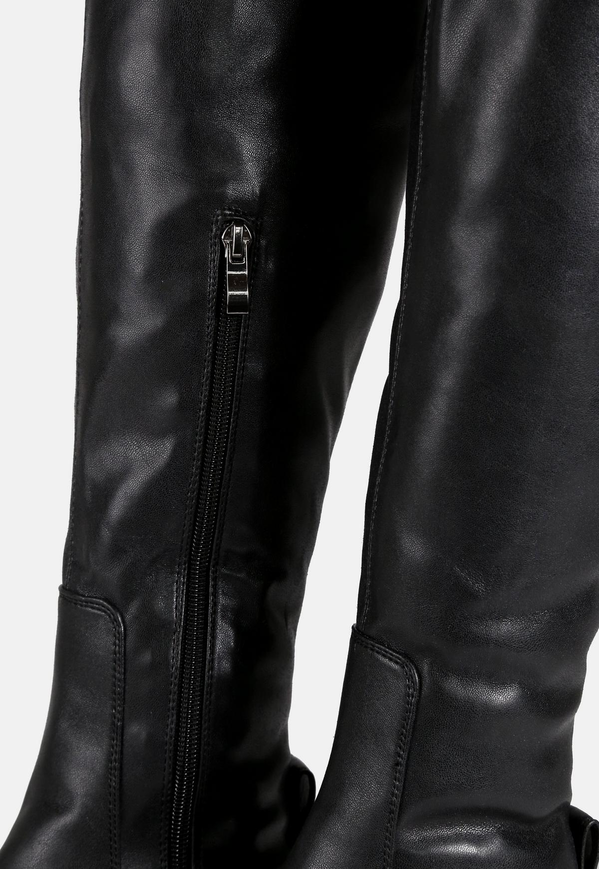 Black Faux Leather Over The Knee Chunky