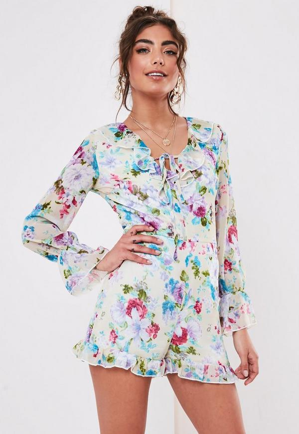 special discount of limited guantity provide plenty of White Floral Frill Tie Front Playsuit