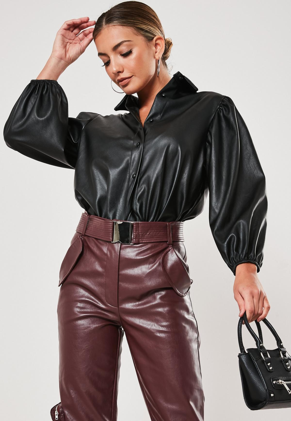 Image result for missguided black faux leather puff sleeve shirt