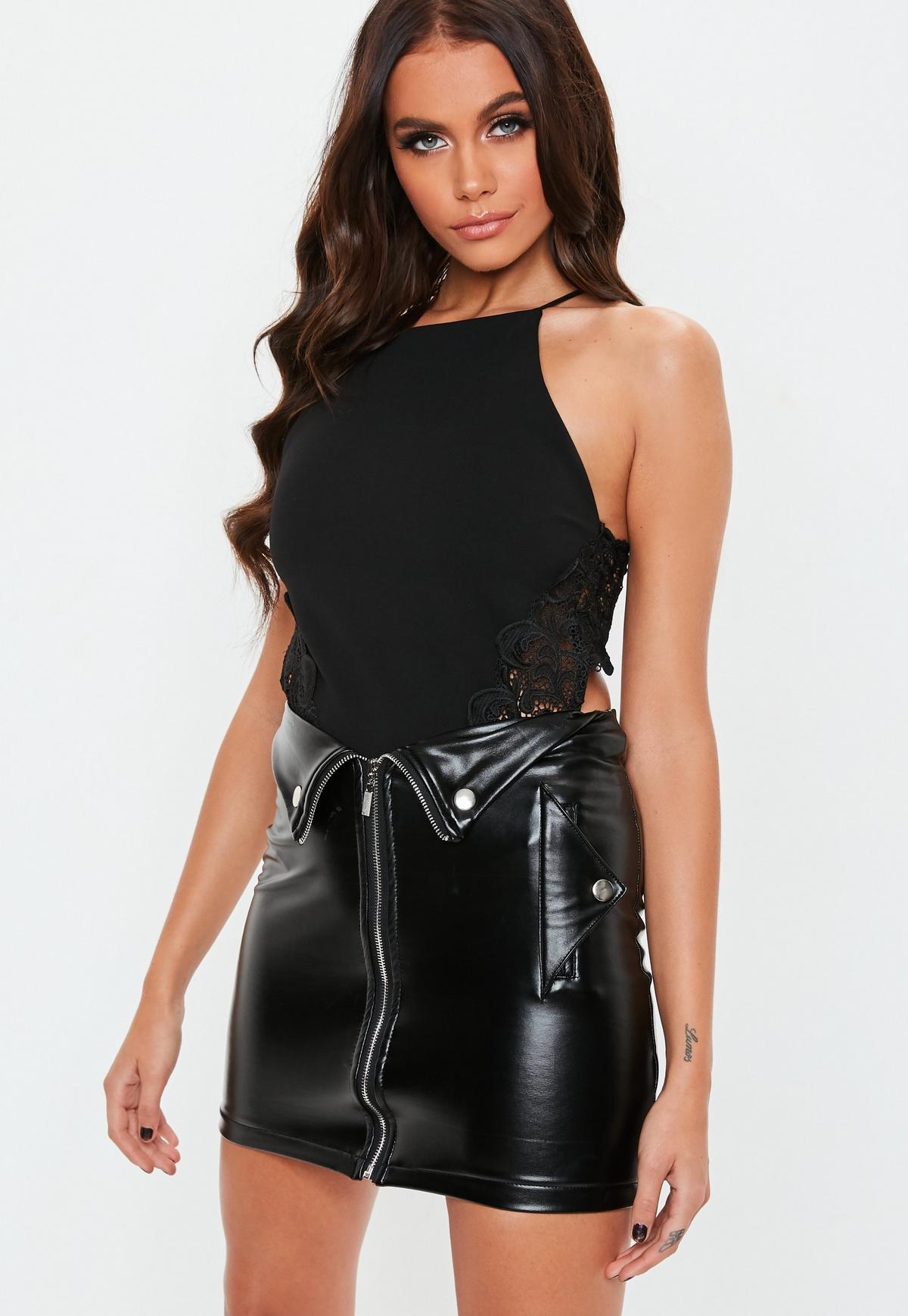 Black Lace Insert Bodysuit   Missguided