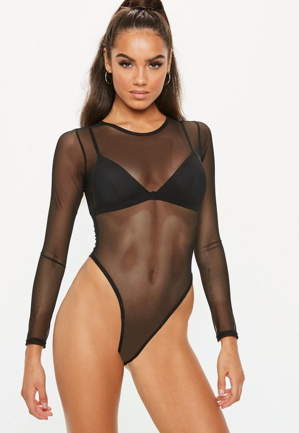 Clothing : Bodysuits : Malla Black Asymmetric Cut Out