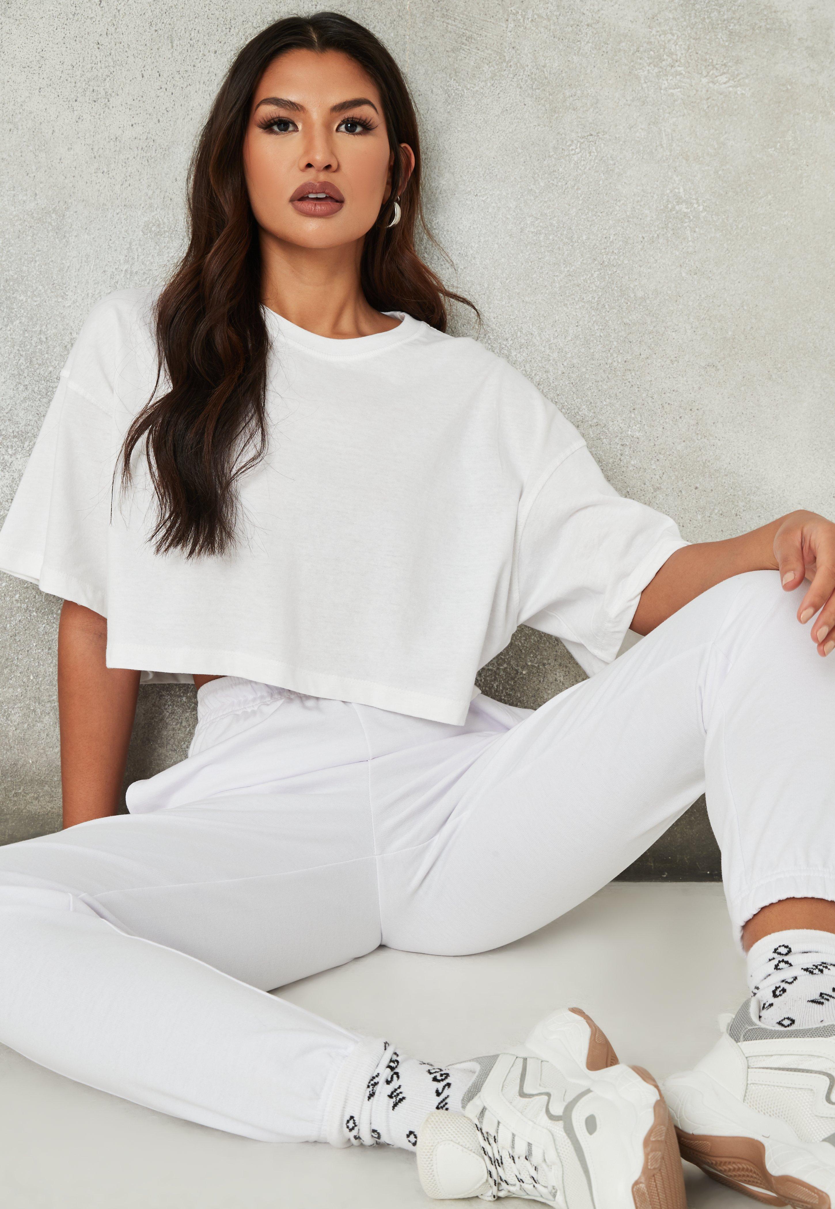 ufficiale Antecedente telaio  White Drop Shoulder Oversized Crop Top   Missguided
