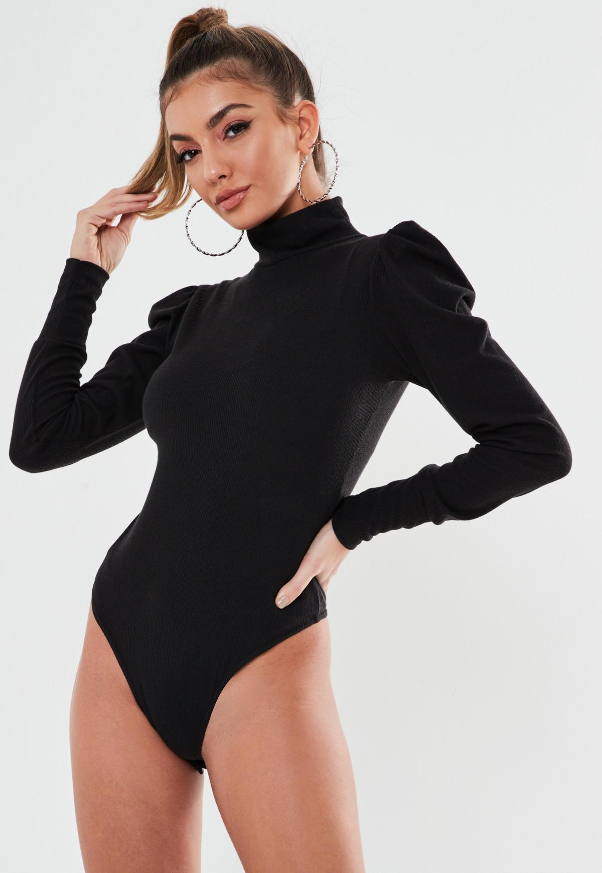 Black Rib High Neck Puff Sleeve Bodysuit | Missguided
