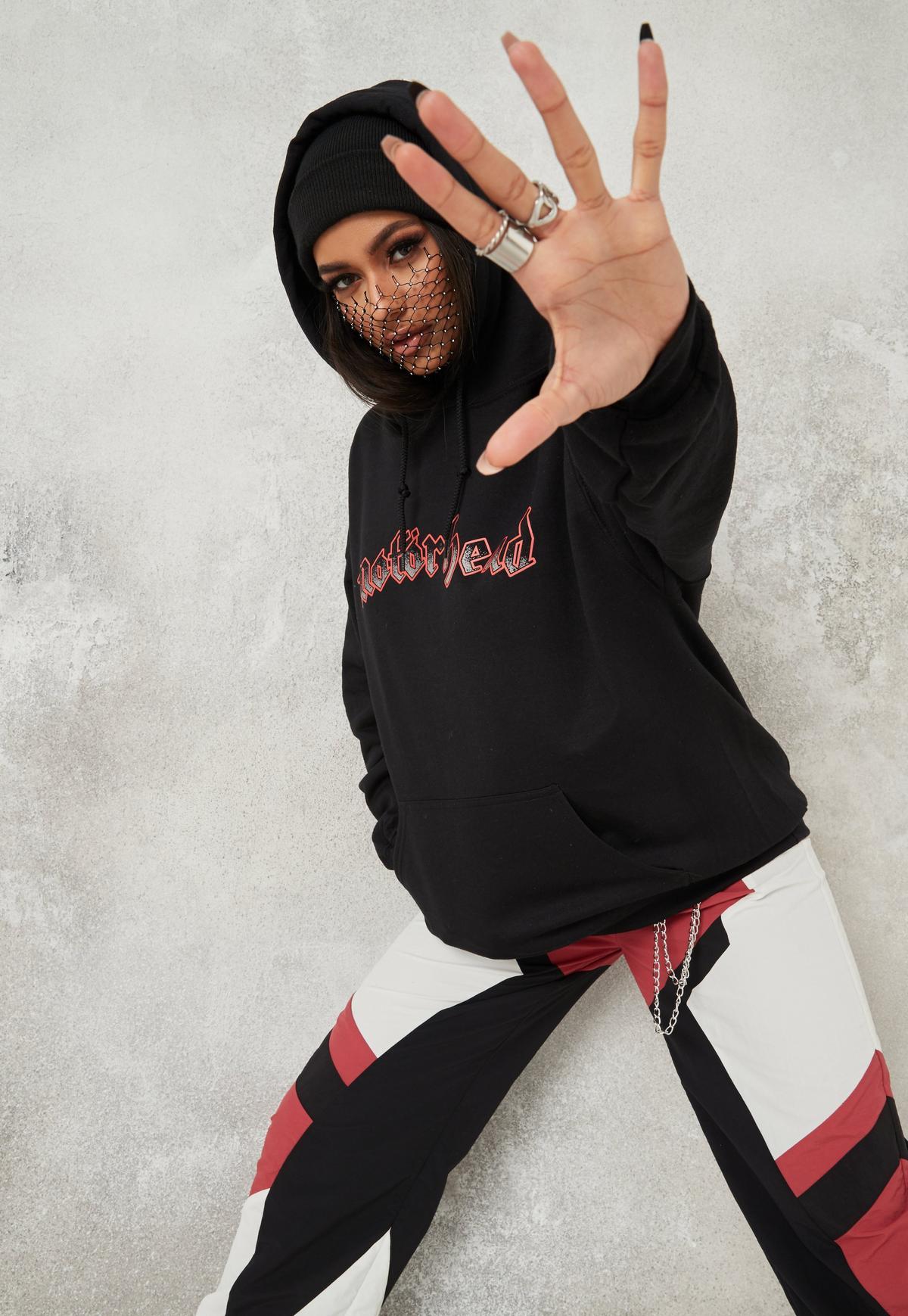 black motorhead oversized hoodie