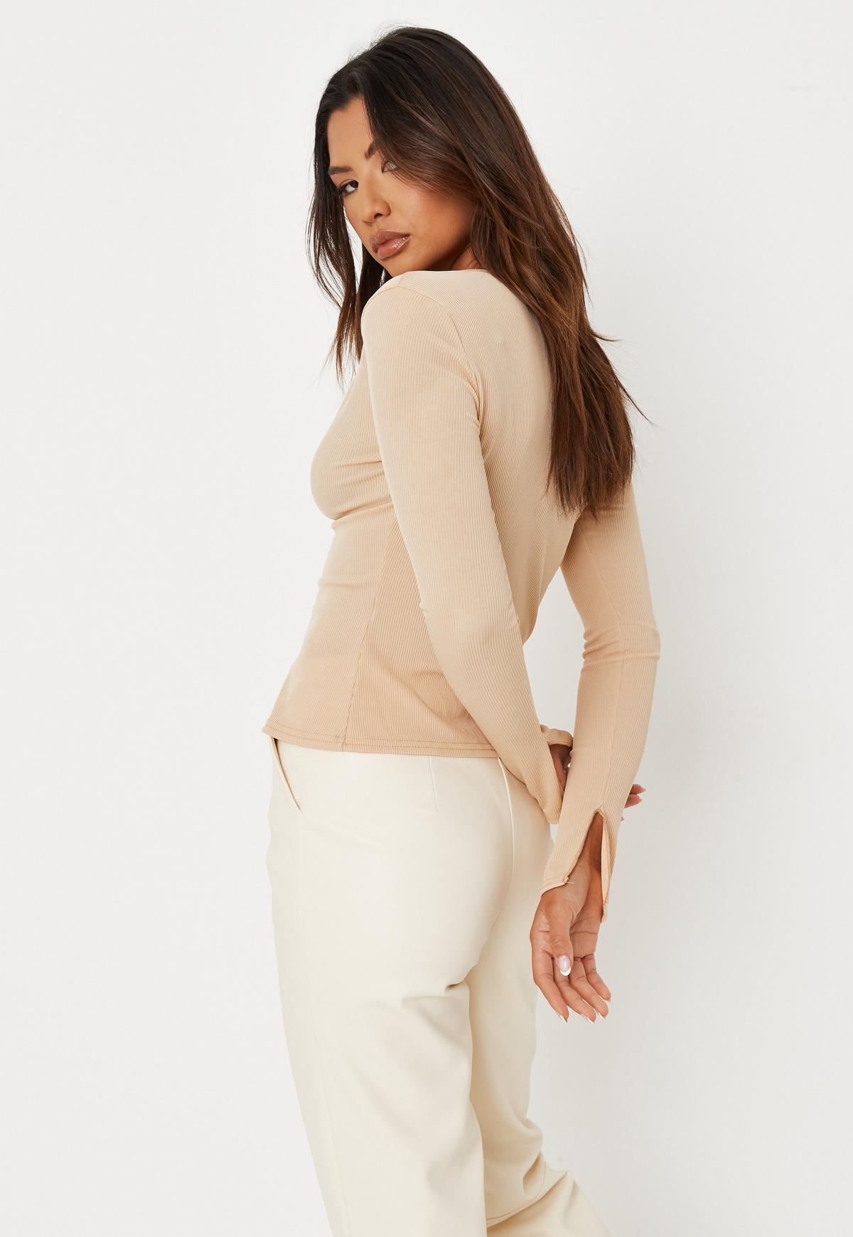 Taupe Rib Double Notch Long Sleeve Top | Missguided