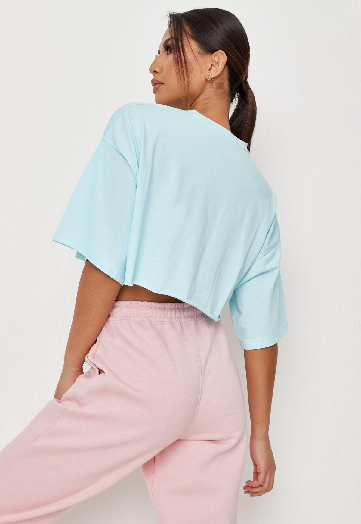 Blue Missguided Cropped T Shirt  | Missguided