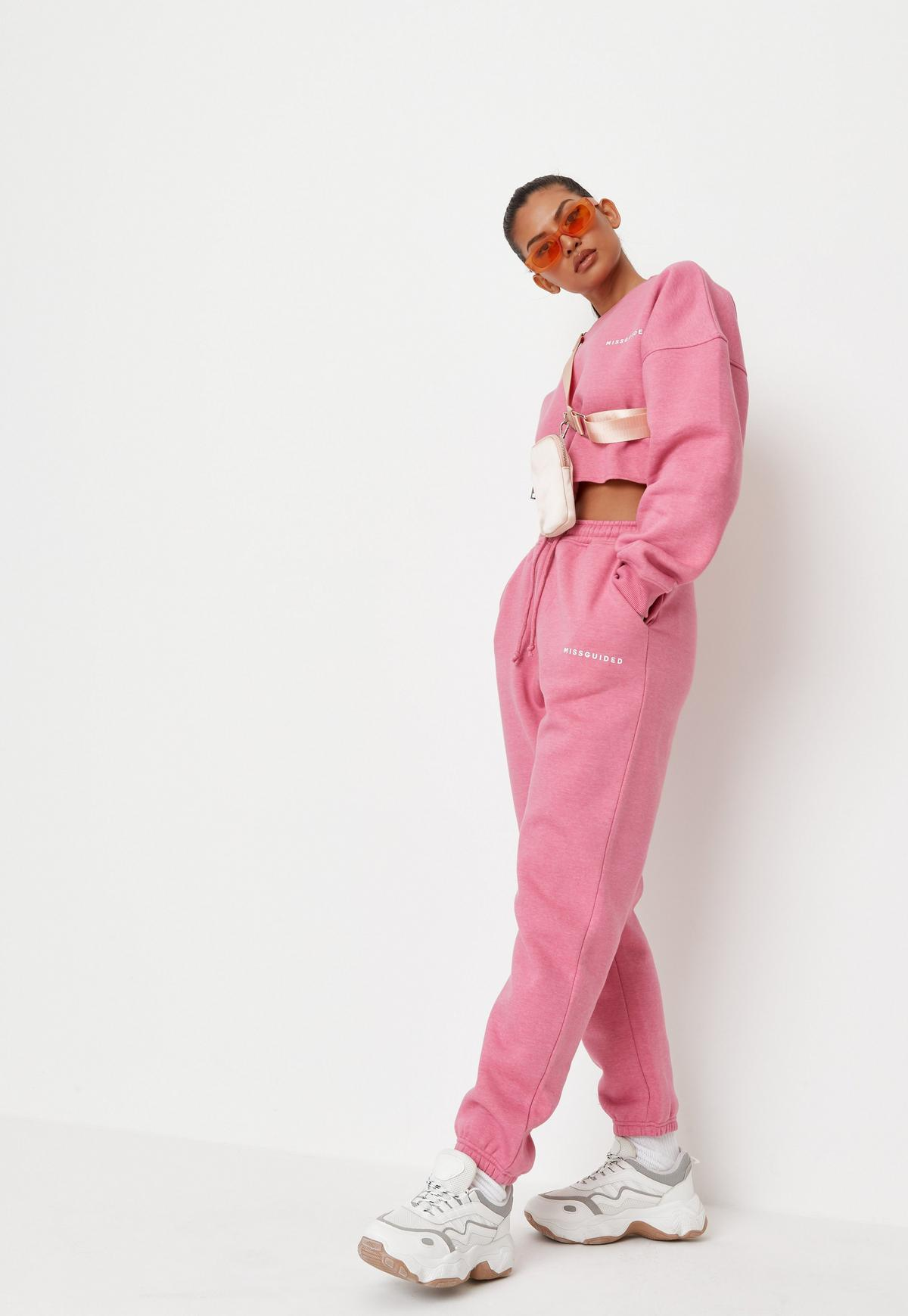 Pink Missguided Cropped Sweatshirt    Missguided