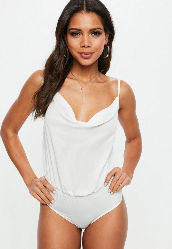 ffe5cb3fcd3 Tall White Cowl Front Strappy Bodysuit