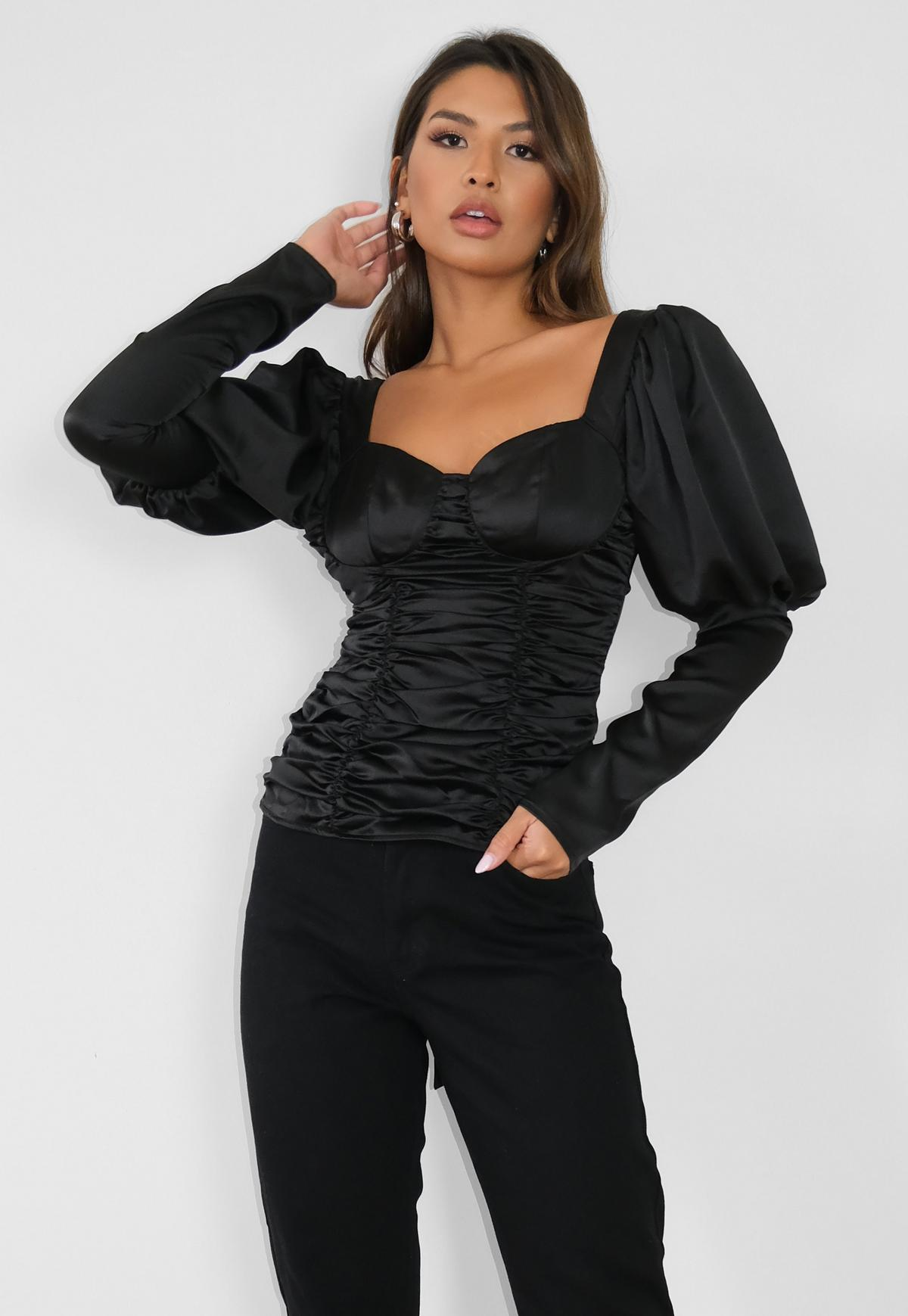 black satin ruched bow back top