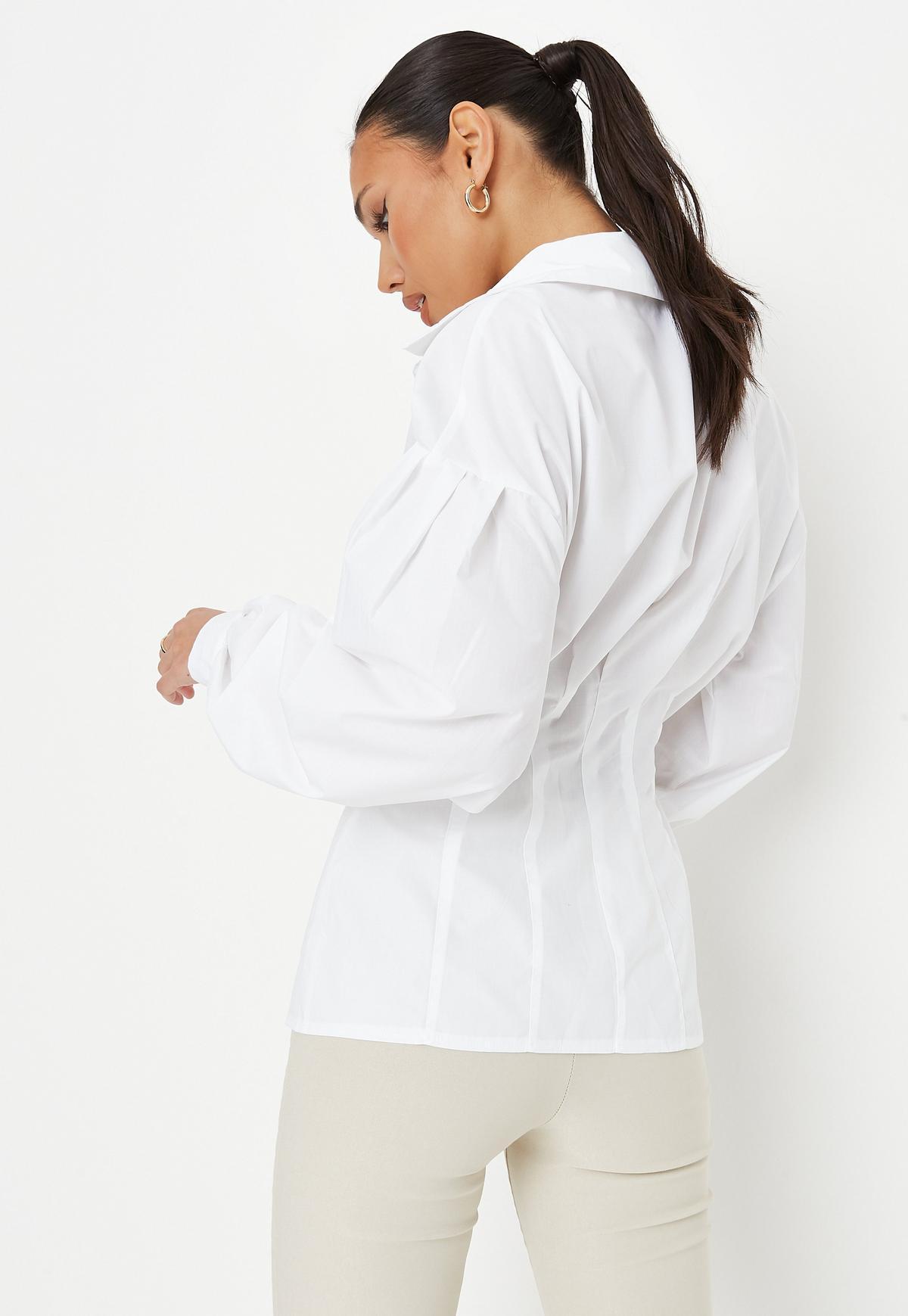 Petite White Poplin Corset Shirt | Missguided