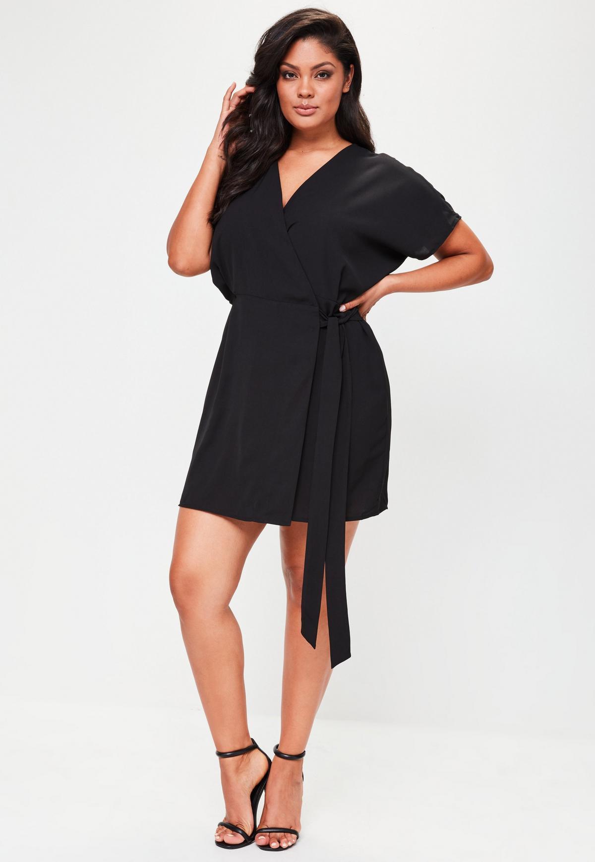 Plus Size Black Kimono Sleeve Wrap Dress
