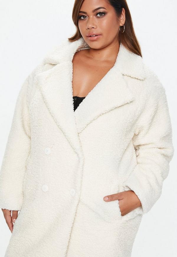 5f39b4101 Plus Size Cream Longline Teddy Coat