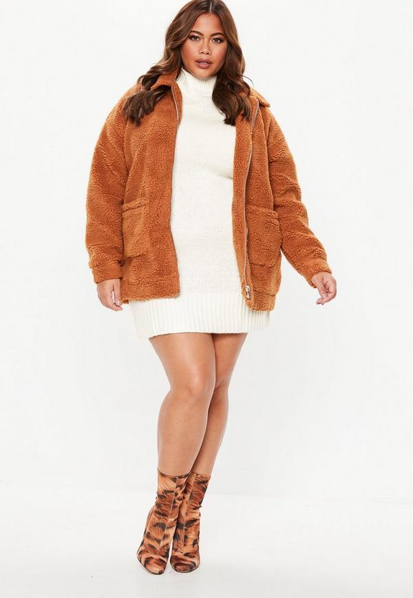Plus Size Cream Turtle Neck Sweater Dress