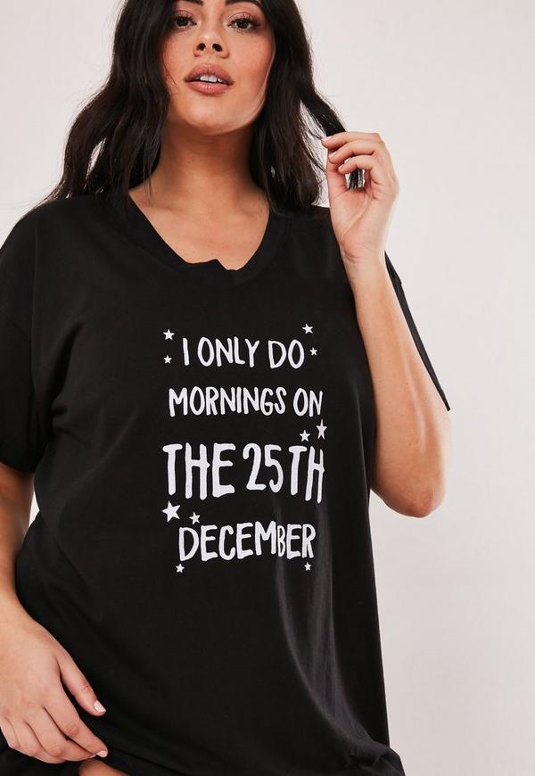 Plus Size Black Christmas Slogan Night Dress