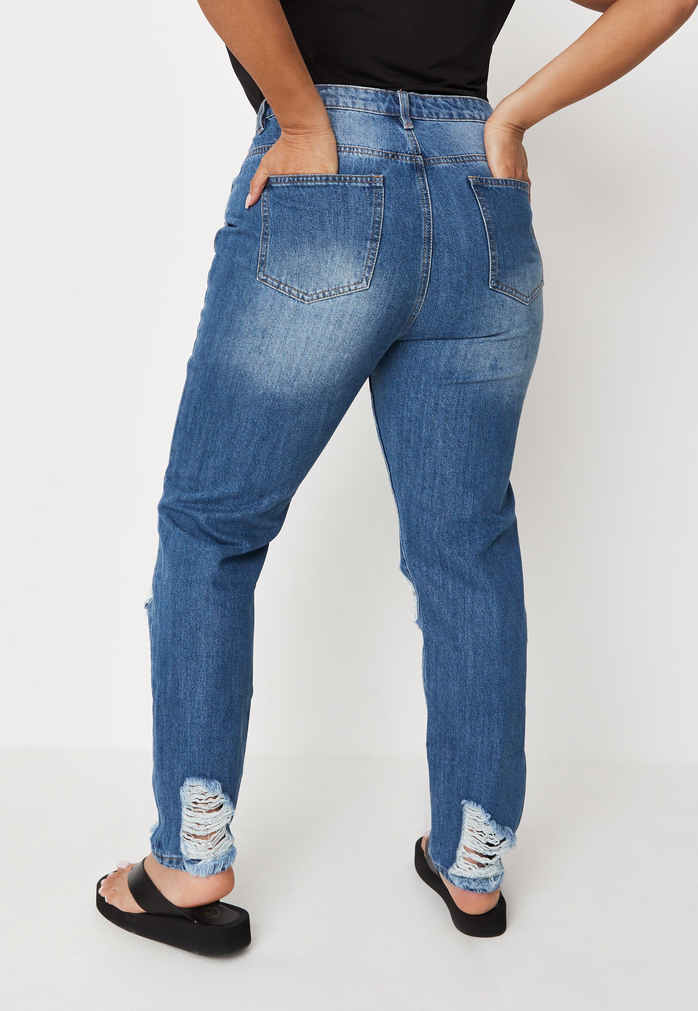 MYNT 1792 Light Blue Roll Cuff Distressed Denim Jeans Plus Sizes 18 /& 20