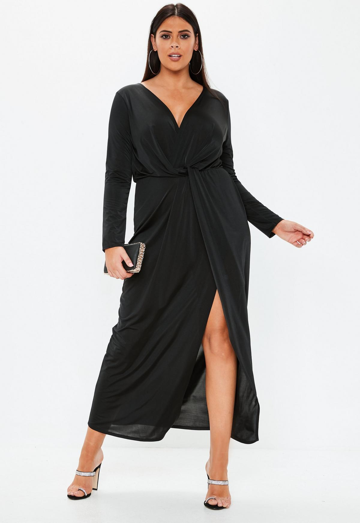 Plus Size Black Twist Front Slinky Maxi Dress