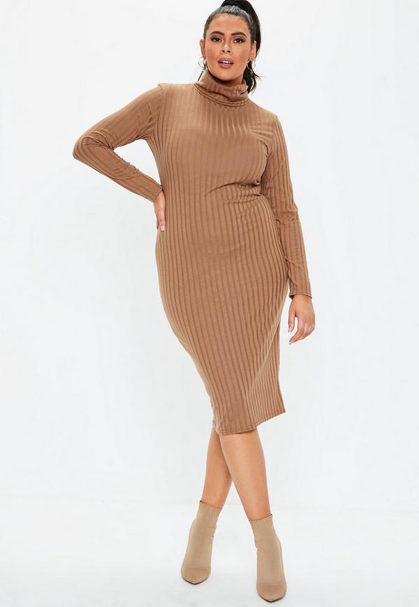 Plus Size Brown Ribbed Midi Dress