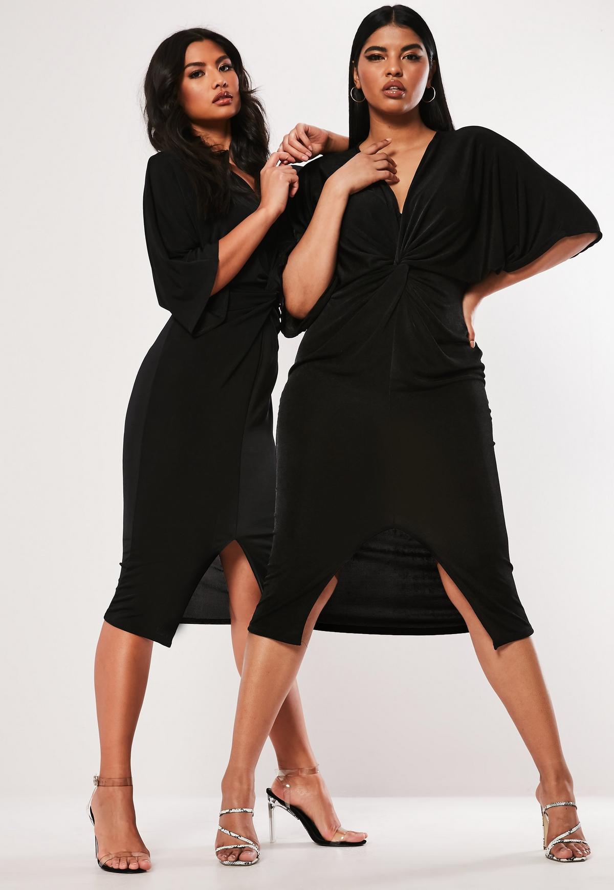 Plus Size Black Slinky Kimono Midi Dress