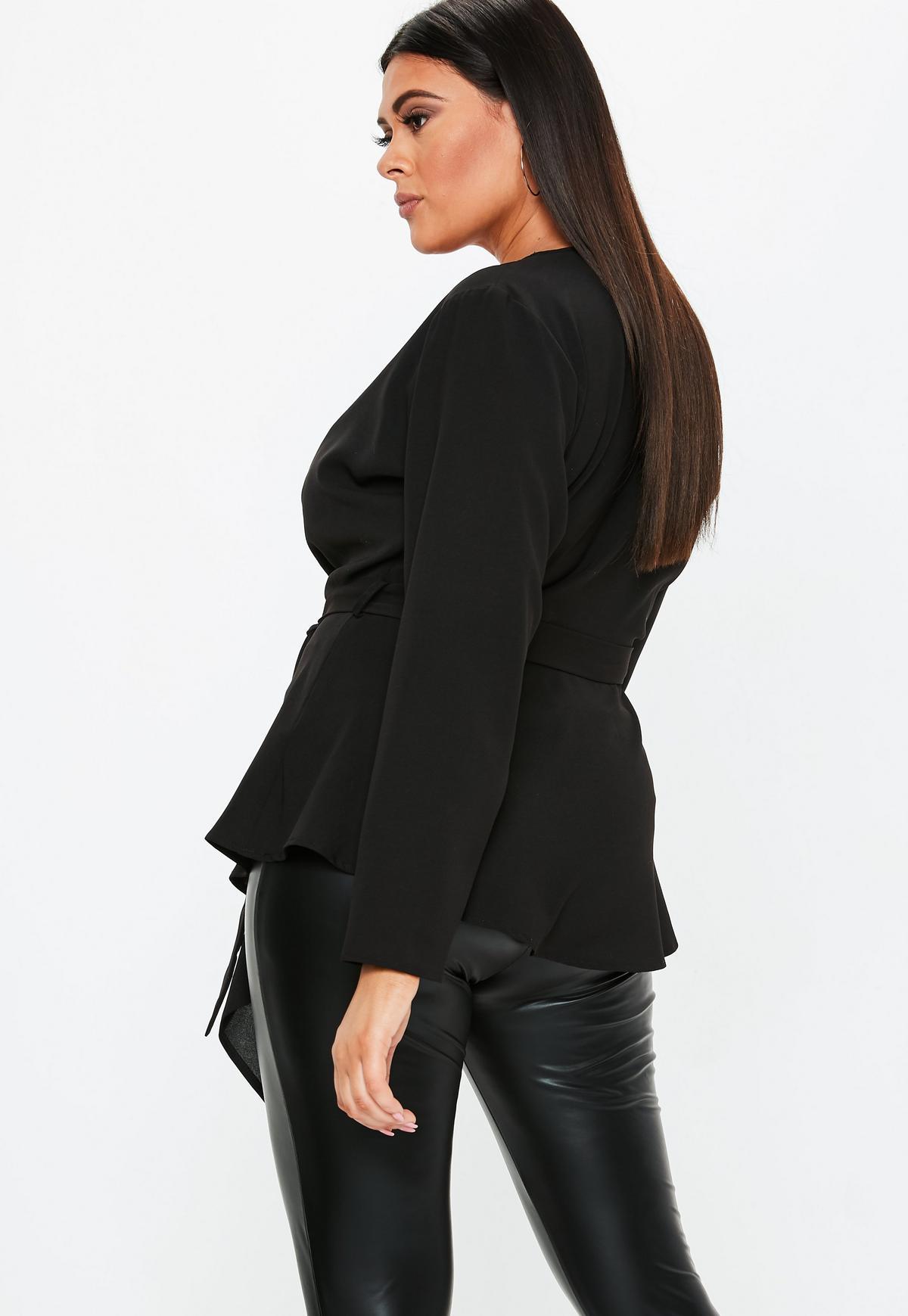 Plus Size Black Tie Front Wrap Over Blouse