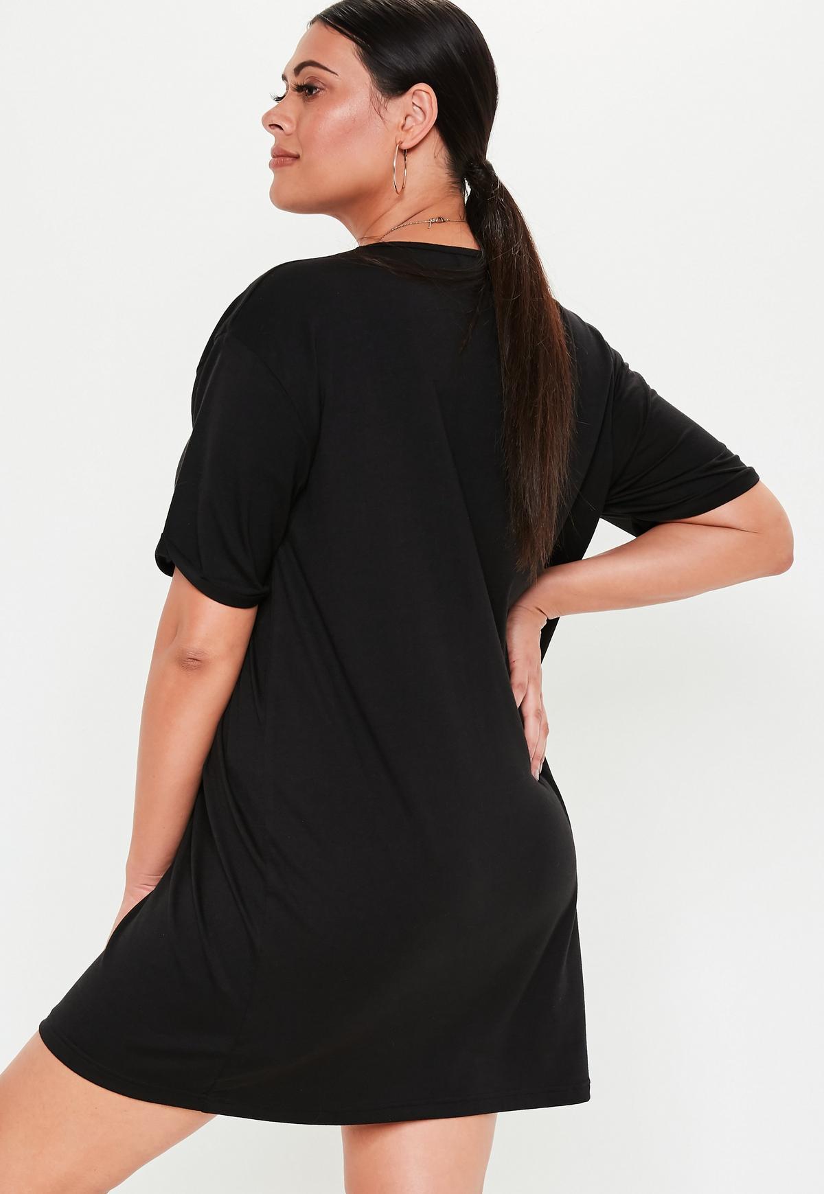 Plus Size Black Oversized T Shirt Dress
