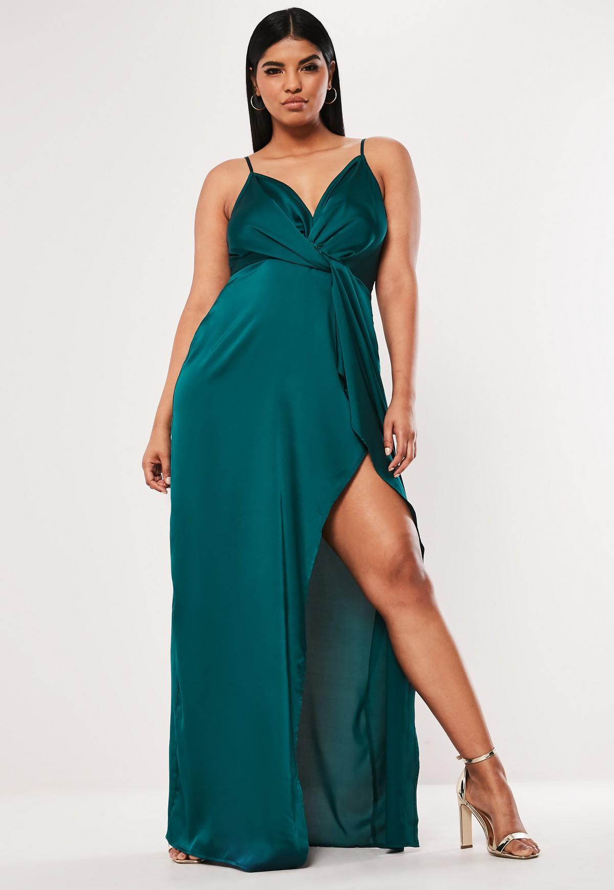 Plus Size Teal Satin Twist Cami Maxi Dress