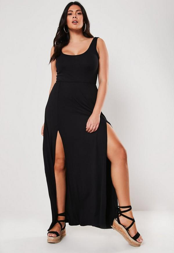 Plus Size Black Double Split Maxi Dress