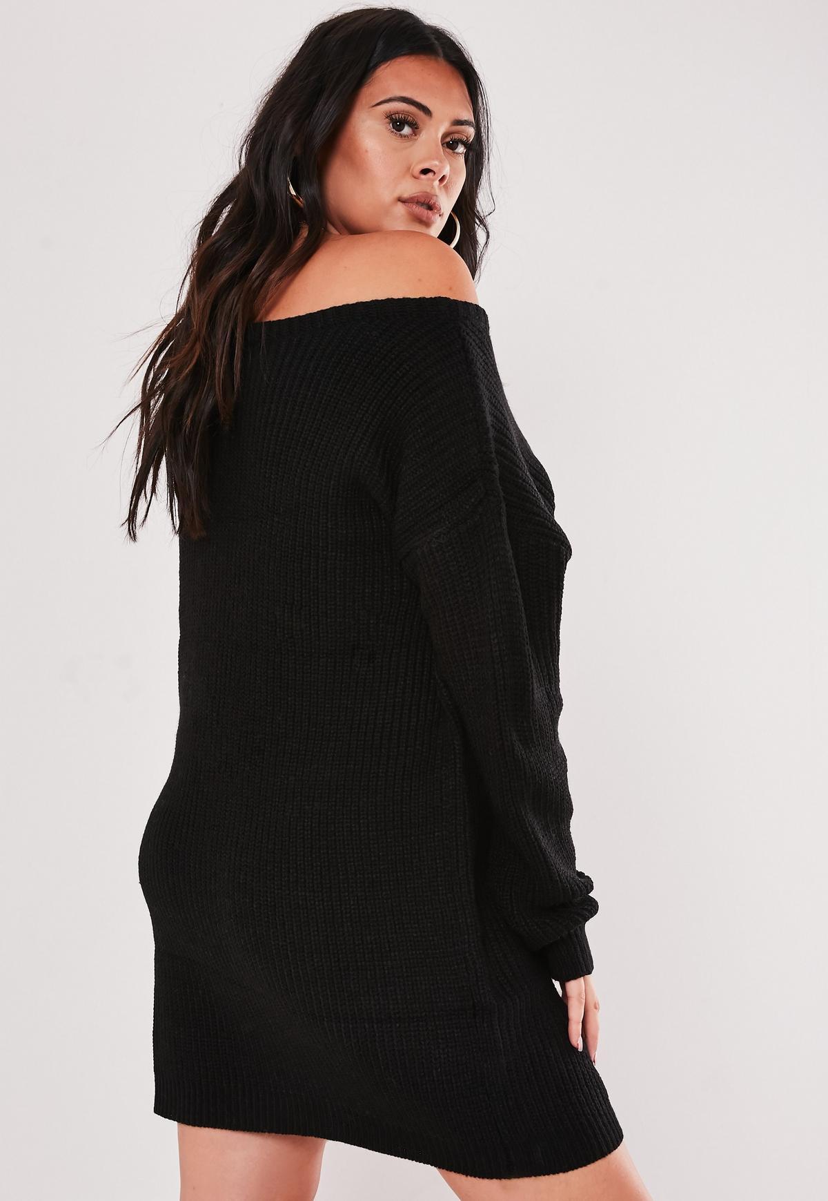 Plus Size Black Off The Shoulder Sweater Dress