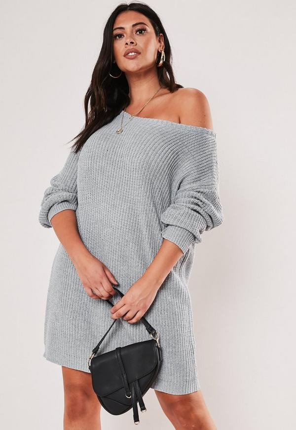 Plus Size Gray Off Shoulder Knitted Sweater Dress