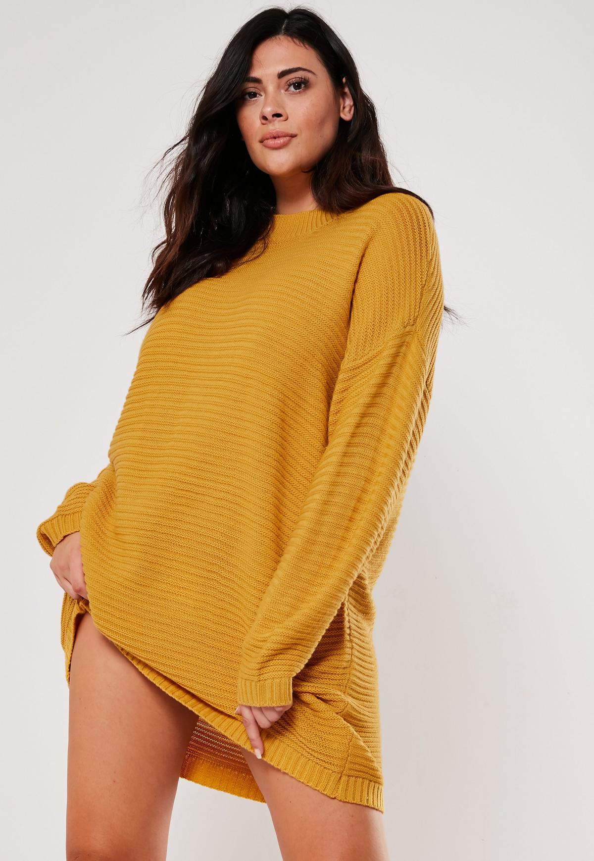Plus Size Mustard Ribbed High Neck Sweater Dress