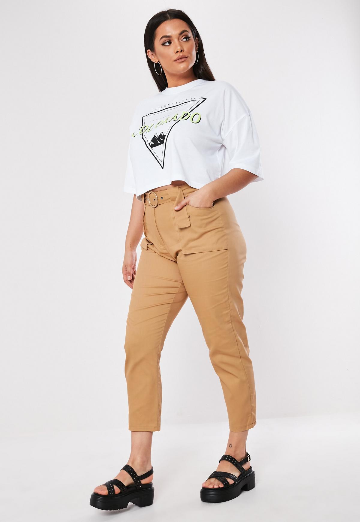 Plus Size Cieliste spodnie cargo z paskiem