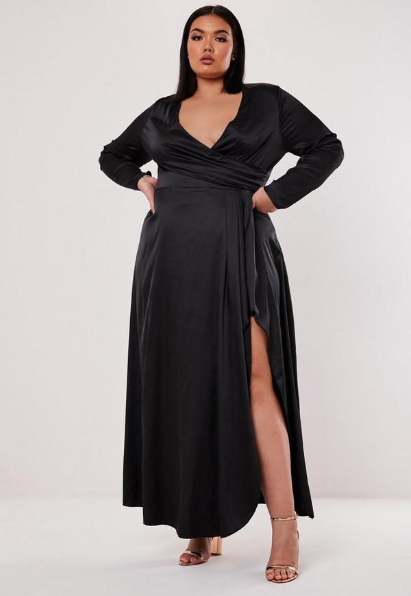 Plus Size Black Satin Wrap Over Maxi Dress