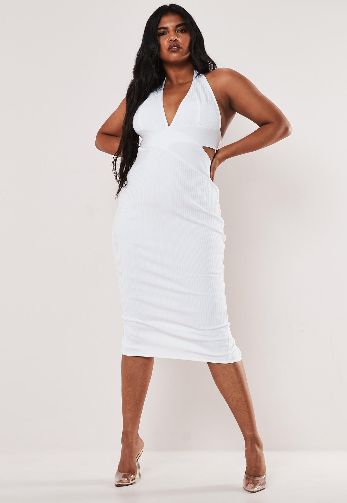 Plus Size White Halterneck Bandage Midaxi Dress