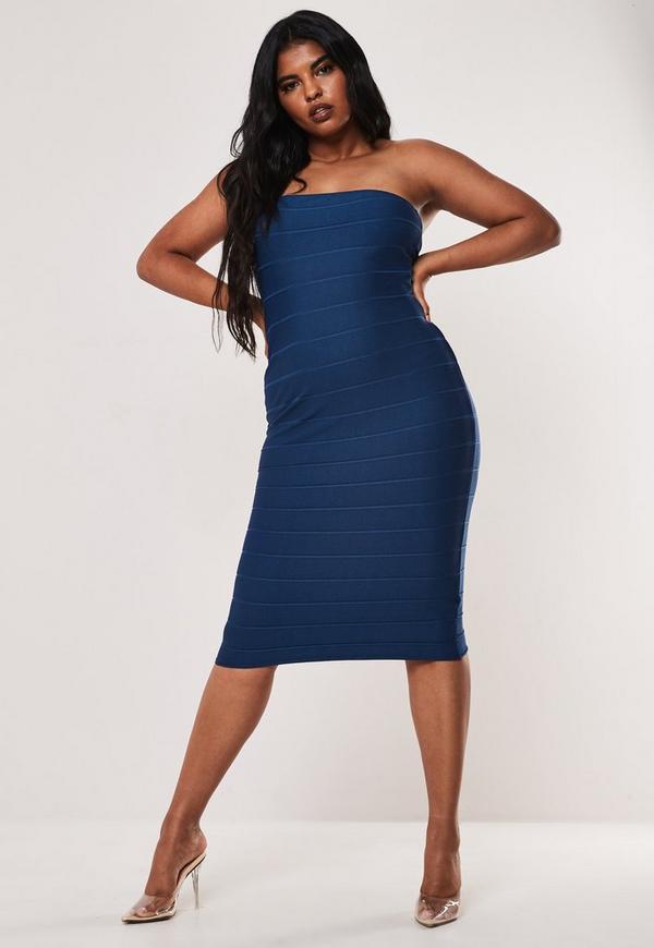 Plus Size Navy Strapless Bandage Bodycon Midi Dress