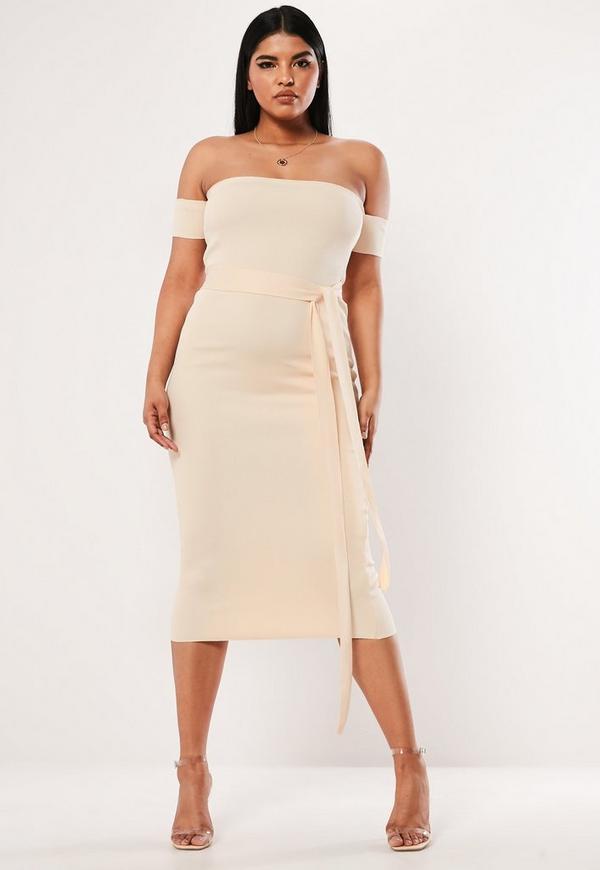 Plus Size Cream Bandeau Bandage Tie Midaxi Dress
