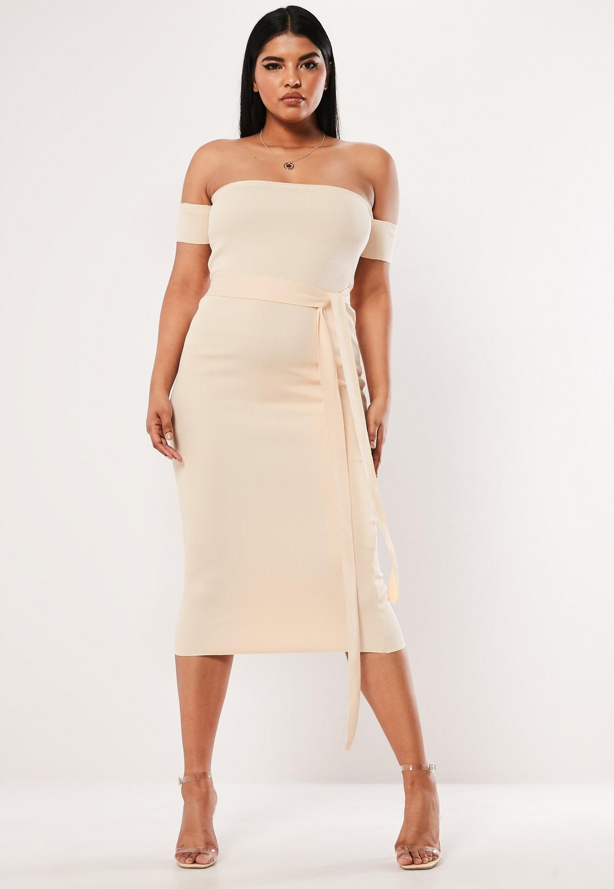 Plus Size Cream Bandeau Bandage Tie Midaxi Dress