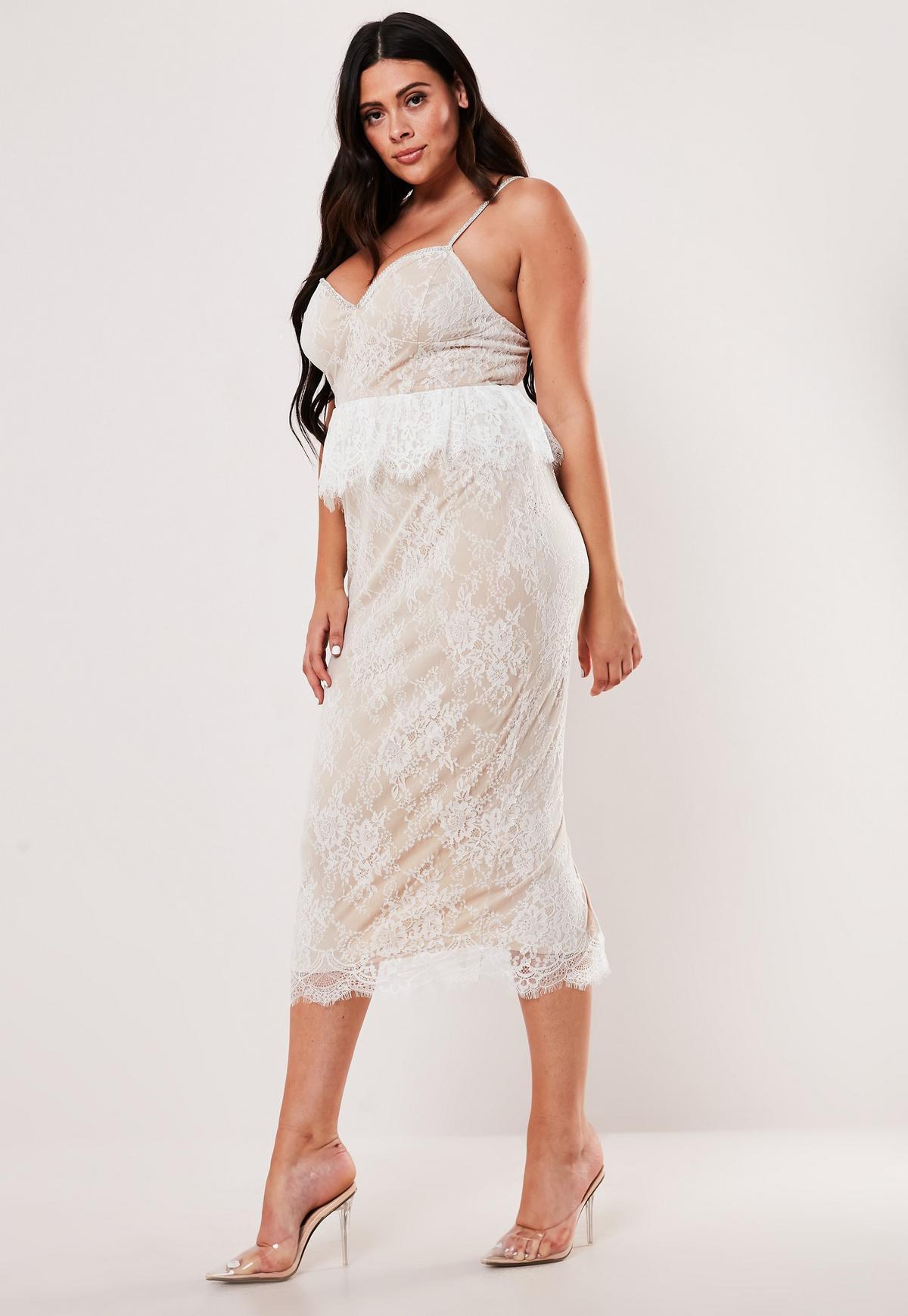 Plus Size White Lace Diamante Strap Peplum Midi Dress