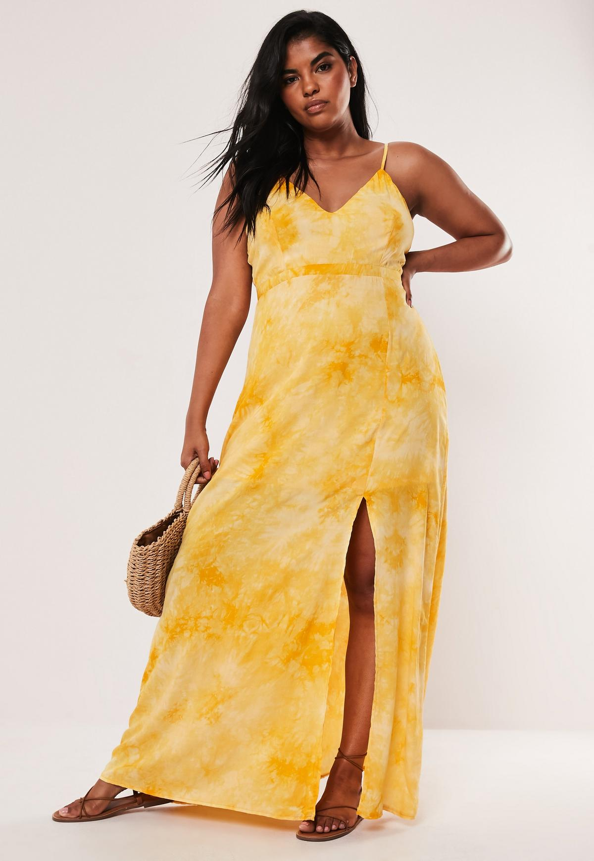 Yellow Plus Size Tie Dye Cami Plunge Maxi Dress