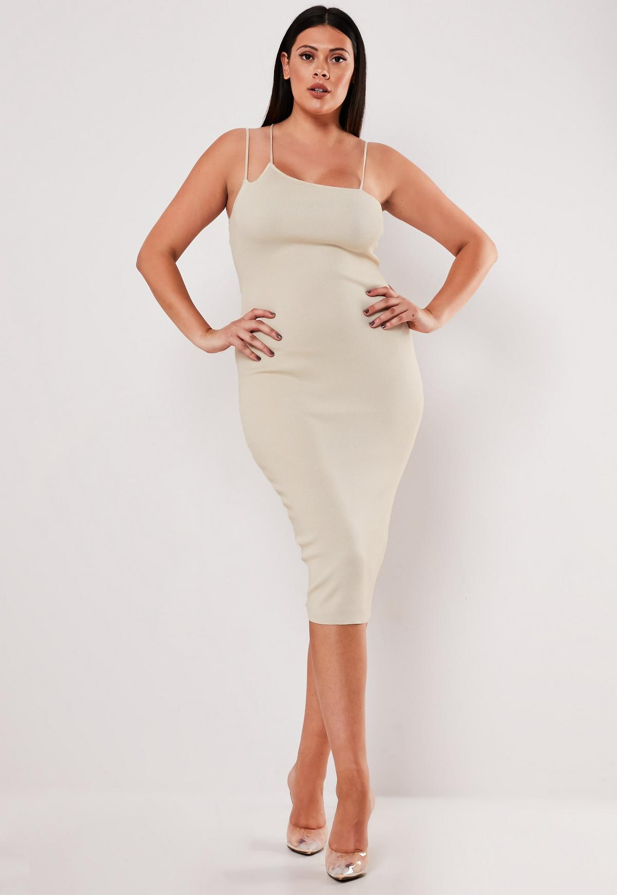 Plus Size Cream Multi Strap Midi Dress