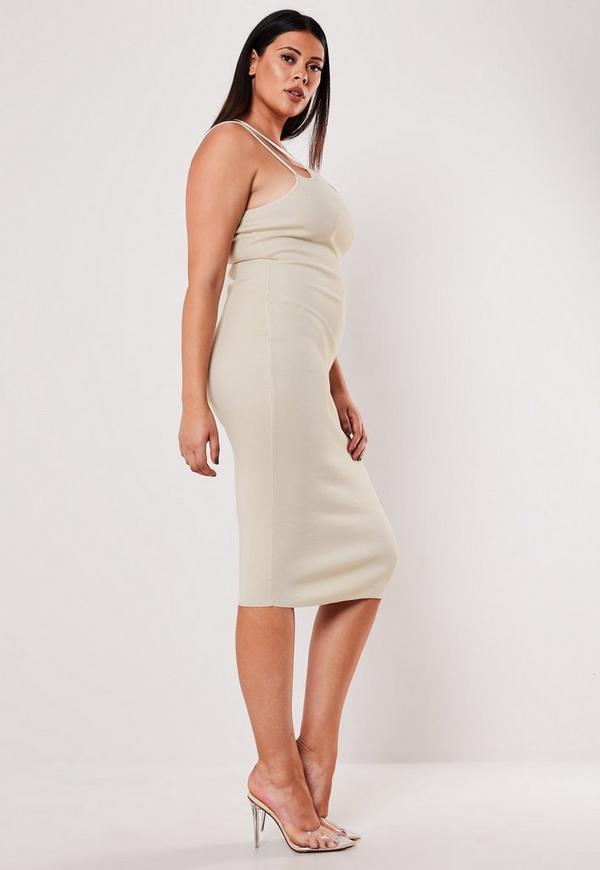 Plus Size Cream Multi Strap Midi Dress
