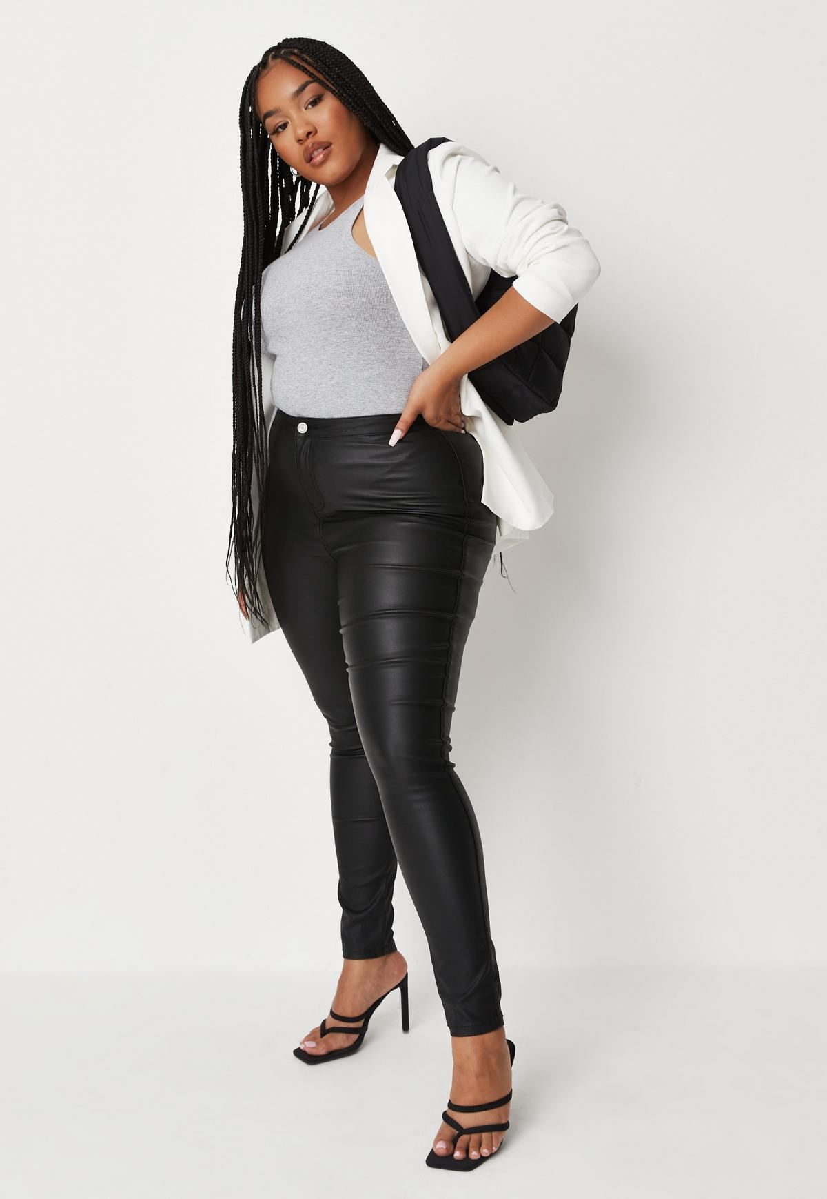 Plus Size Black Vice Coated Skinny Jeans