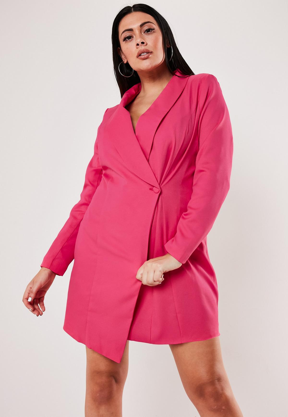 Plus Size Pink Asymmetric Blazer Dress
