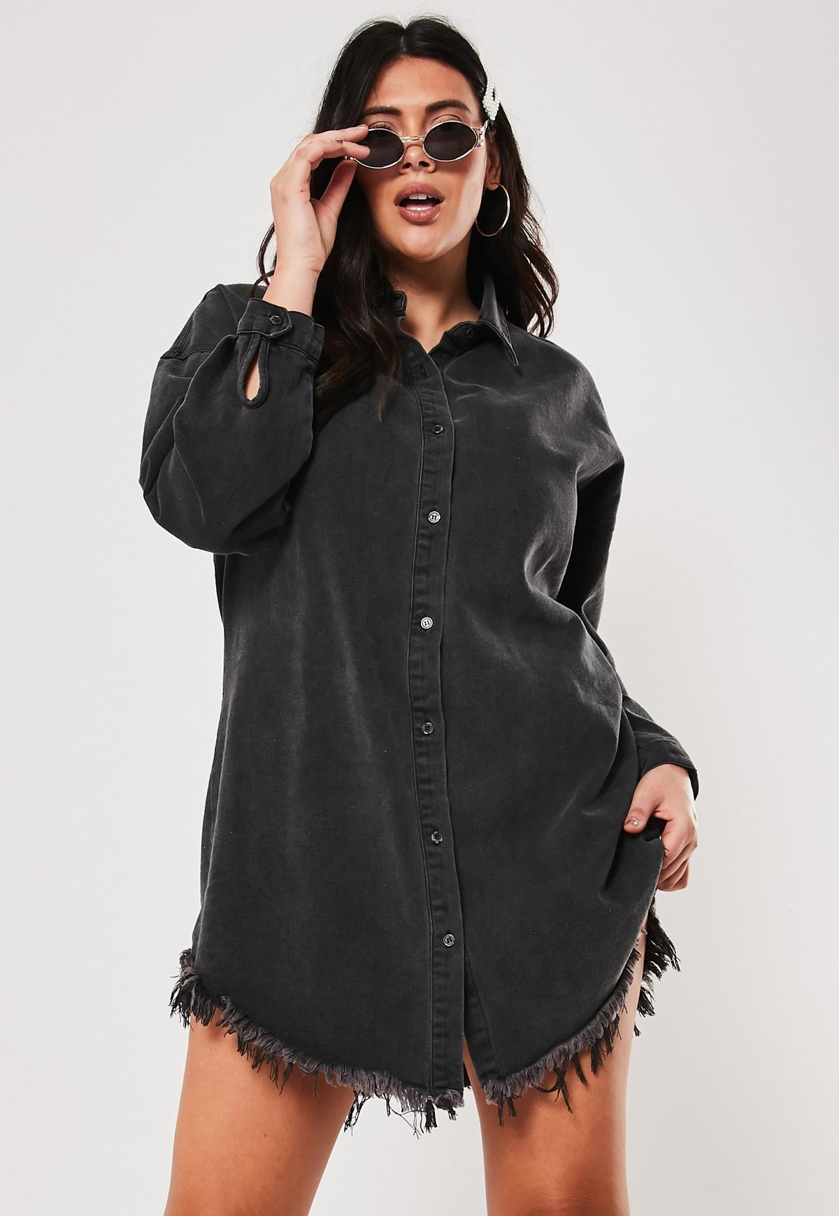 Plus Size Black Frayed Hem Denim Shirt Dress