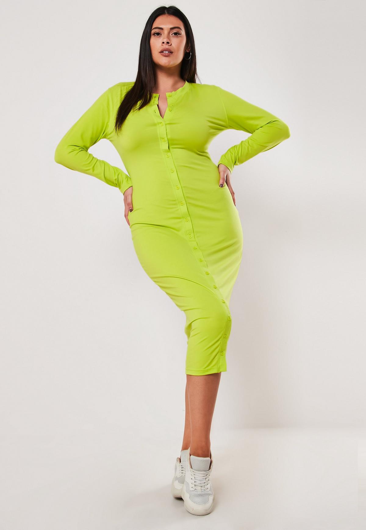 Plus Size Lime Button Front Bodycon Midi Dress