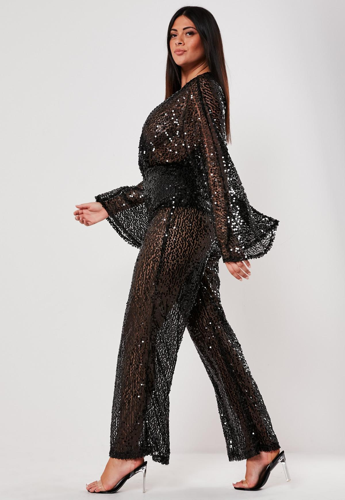 Plus Size Black Sequin Plunge Flared Jumpsuit